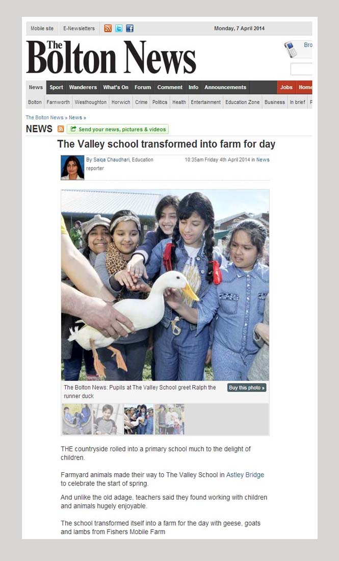 Bolton News article - Fishers Mobile Farm @ The Valley Primary, Bolton